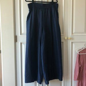Vintage 90s 100% Silk Palazzo Pants Royal Blue L